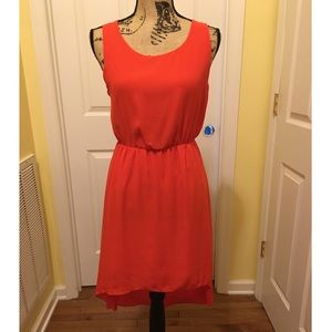 Myán Red High Low Dress with three back cutouts